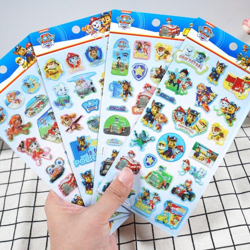 Autocollants pat' patrouille, mignon, Chase Marshall Skye, motif aléatoire, pâte pour enfants, puzzle, figurine d'action, dessin animé, cadeau