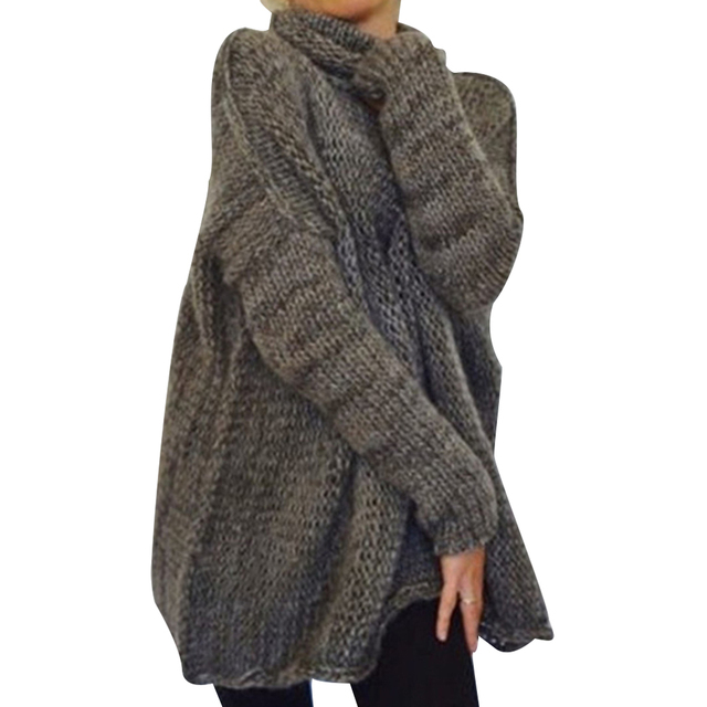 Turtleneck Women Knit Sweater Winter Long Sleeve Women Knitted Tops Lady Solid Pullover Long Sweater Female Oversize Sueter D40 6