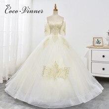 Heavy Beading Europen Fashion Champagne Wedding Dress  Ball Gown Bride Dress Half Sleeve Organza Wedding Dresses WX0025