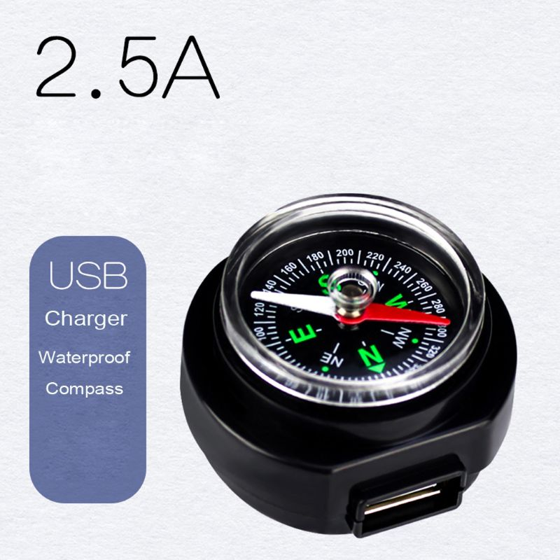 12V 24V Motorcycle Handlebar Waterproof USB Charger Power Adapter With Compass
