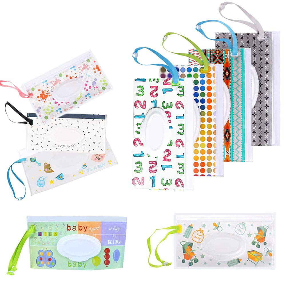 1PC Eco-friendly Snap Strap Baby Wipes Box Portable Clamshell Cosmetic Pouch Wet Wipe Bag Wipes Container Easy-carry Clean Wipes