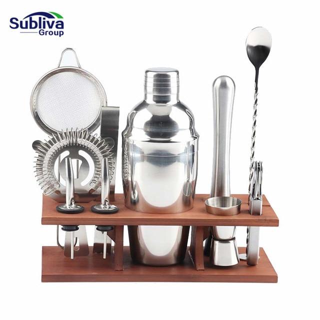 11Pcs/Set Stainless Steel Cocktail Shaker Set Drinks Strainer Bottle Opener Maker Mixer Spoon Measure Cup Bar Tool Kit