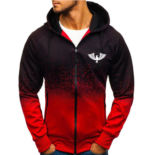 Jacket Casual Gradient color Hooded Sweat shirts zipper Hoodies Man Clothing