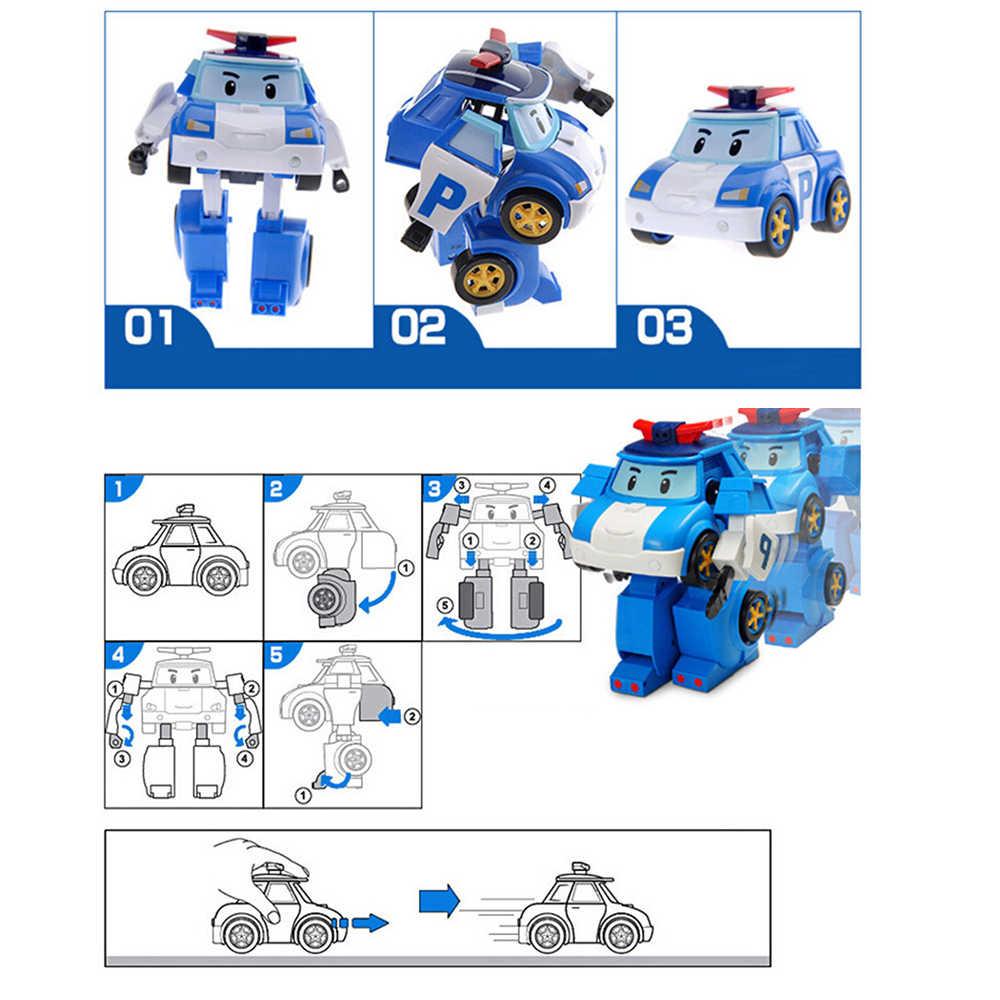 Carro de brinquedo poli para o menino crianças robô carro transformar poli animação dos desenhos animados brinquedo veículo jouet brinquedo presente aniversário para crianças