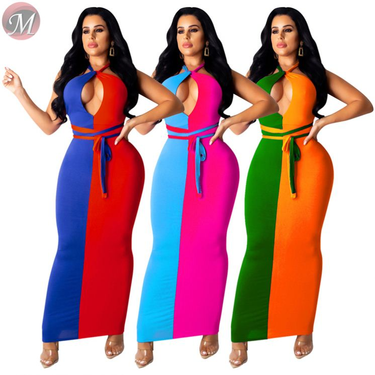 Hot sale summer two color patchwork backless woman fashion clothing vestidos sexy maxi dress in Dresses from Women 39 s Clothing