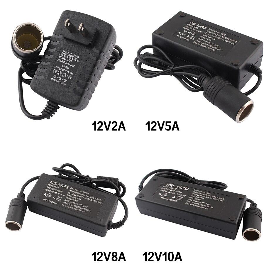 AC DC 220V адаптер DC 12V 2A 5A 8A 10A адаптер питания автомобильный прикуриватель конвертер инвертор 12V зажигалка с вилкой EU