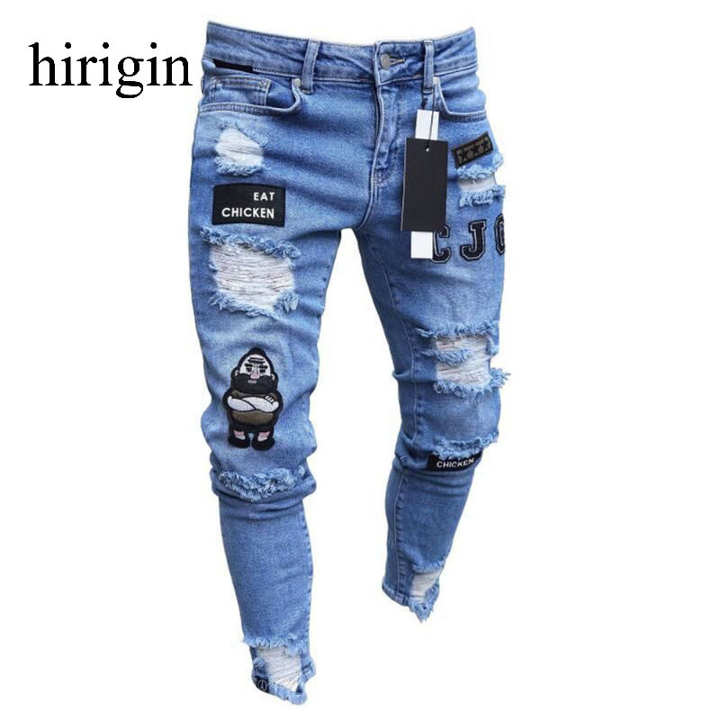 Men Clothes 2020 Hip Hop Sweatpants Skinny Motorcycle Denim Pants Zipper Designer Black Jeans Mens Casual Men Jeans Trousers