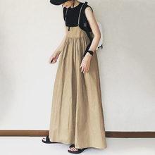 Koreanische Japan Frauen EINE Linie Khaki Kleid Sommer Casual Dame Gefaltete Lange Maxi Strap Kleid Robe Lose Pullover Vestidos Herbst neue
