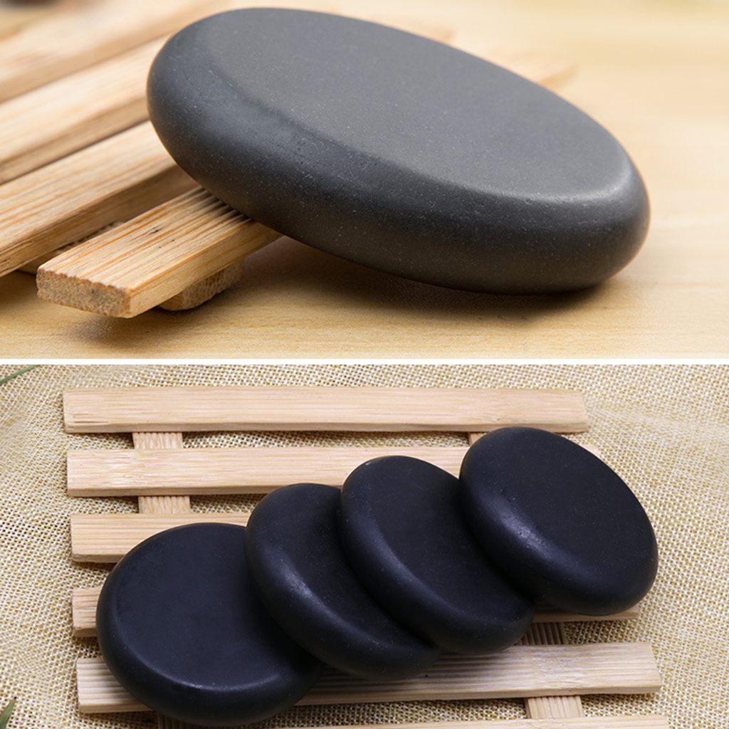 4pcs SPA Massage Energy Stones Kit, Personal SPA Hot Compress Spa Rock Basalt Body Health Care Stone