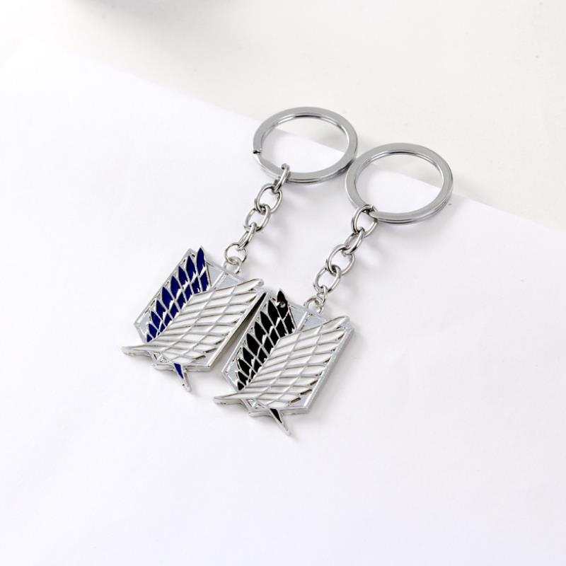 1pc New Anime Attack on Titan Silver Color Drip Keychains Giant Legion Flag Cosplay Key Ring Car Key Holder Figure Toys Gift