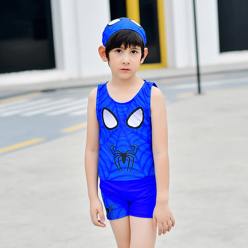 2018 New Style Hot Sales Two-piece Swimsuits Send Swimming Cap Spider-Man Vest Shorts Set Handsome BOY'S KID'S Swimwear