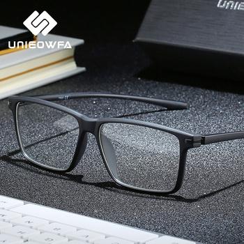 Czarne ramki okularów do komputera TR90 męskie optyczne okulary dla krótkowzrocznych blokujące niebieskie światło blokujące okulary do oczu okulary korekcyjne tanie i dobre opinie UNIEOWFA Plastikowe tytanu Stałe U8026 FRAMES Okulary akcesoria