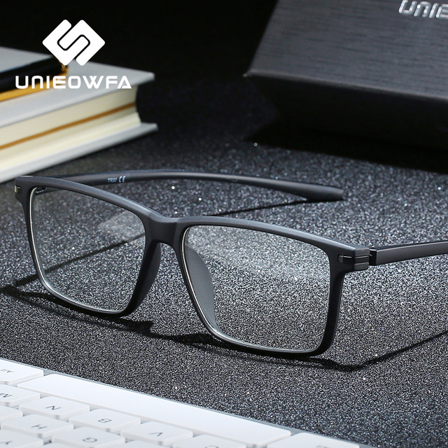 Siyah TR90 bilgisayar gözlük çerçevesi erkekler optik miyopi gözlük Anti mavi ışık engelleme gözlük gözlük reçete gözlük