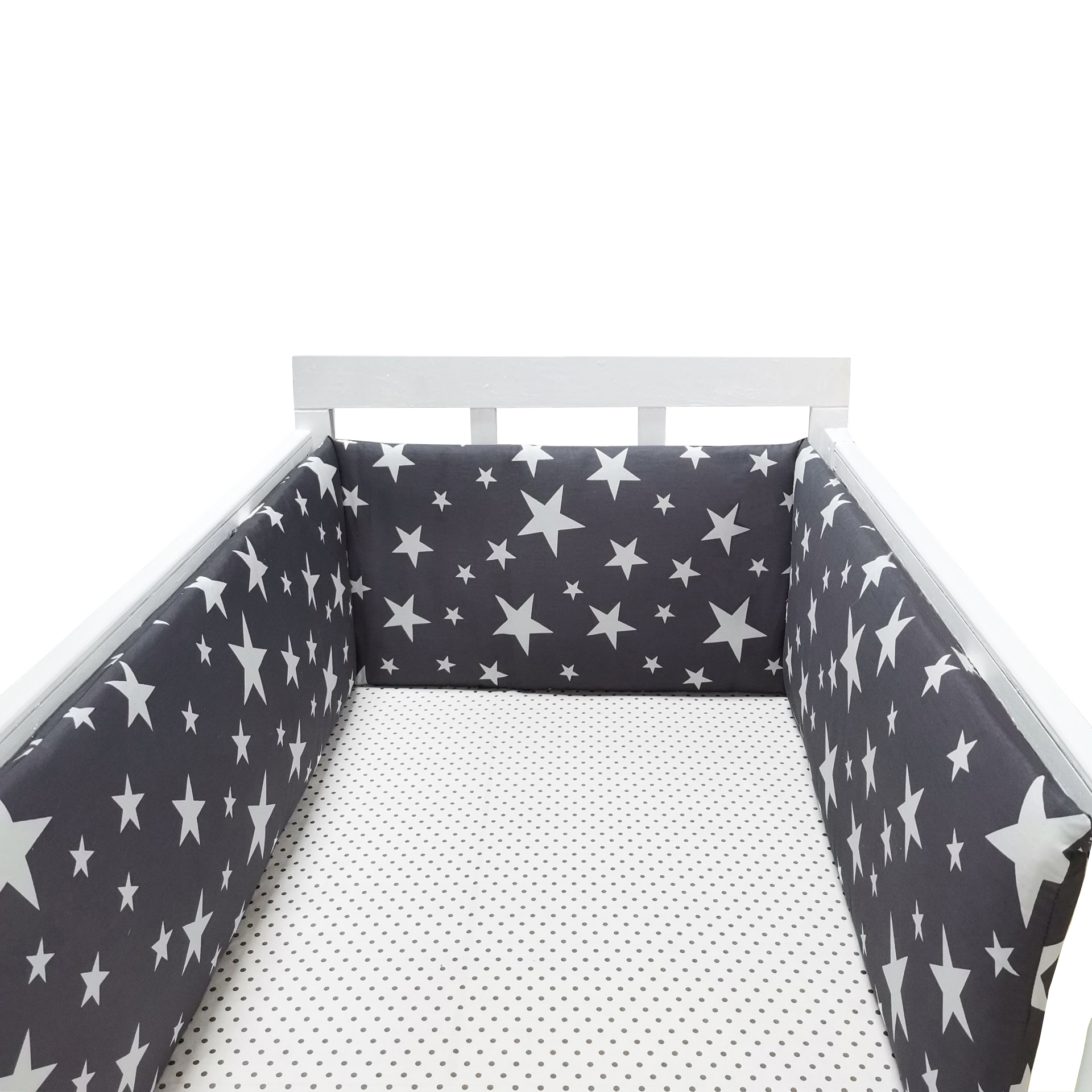 (1pcs Bumper Only)Fashion Hot Crib Bumper Infant Bed,baby Bed Bumper Grey Stars Safe Protection For Baby Use Infant Cradle Guard