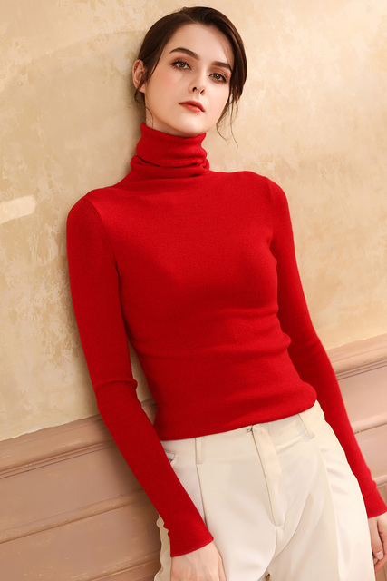 Autumn and Winter New Cashmere Sweater Women High Collar Pullover Fashion Sweater Warm Bottom Sweater 4