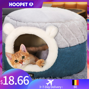 Image 1 - HOOPET Cat Bed House Soft Plush Kennel Puppy Cushion Small Dogs Cats Nest Winter Warm Sleeping Pet Dog Bed Pet Mat Supplies