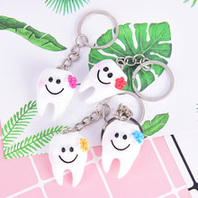 2pcs/set Women Girls Bag Hanging Drop Accessories GiftCartoon Lovely Dental Simulation Tooth Pendant Keychain(China)