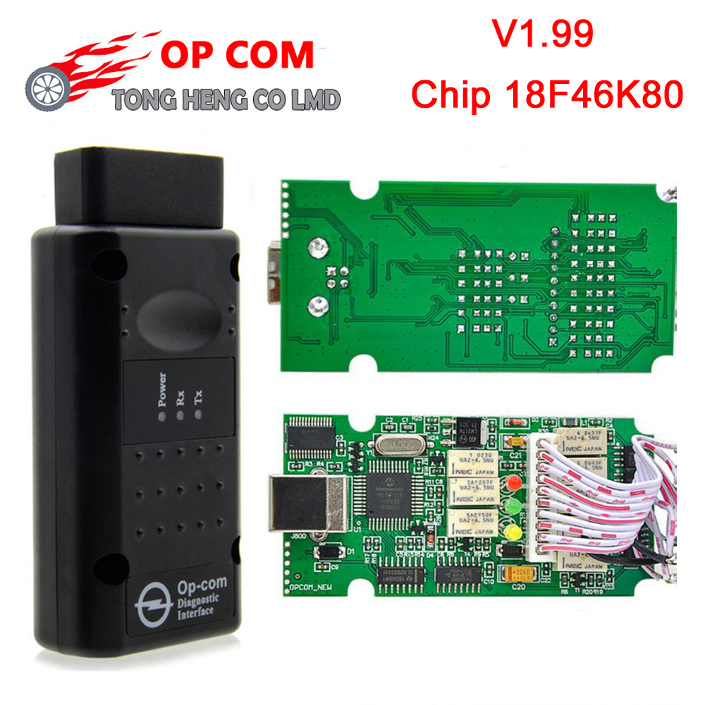 OP-COM v1.99 firmware com 18f46k80 + ftdi chip obd obd2 ferramenta de diagnóstico para opel op com um-bus interface opcom 1.99