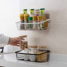 Suction Wall Shelf Kitchen Iron Mount Spice Storage Rack Bathroom Punch Free Adhesive Basket Metal
