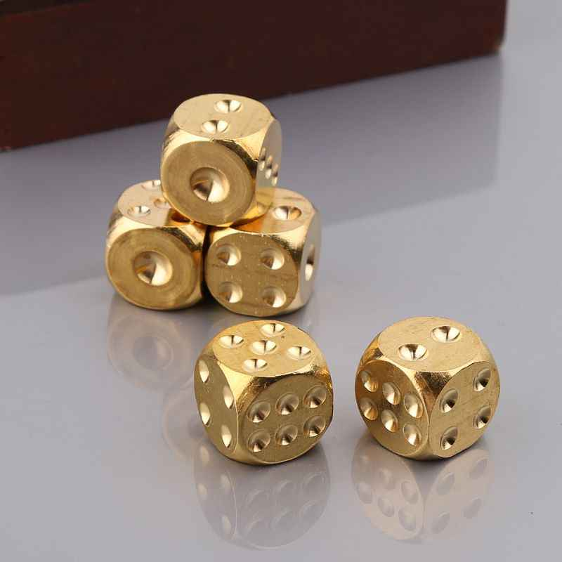 Messing Dices Solide Metalen Polyhedral Club Bar Dice Spelen Game Tool 15X15X15 Mm Q1FF