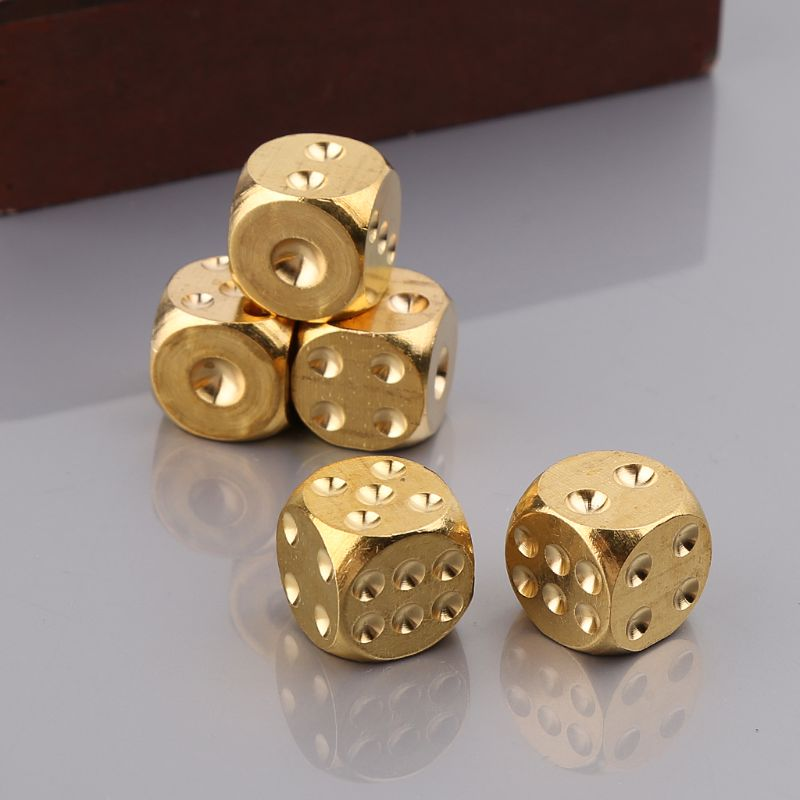 Brass Dices Solid Metal Polyhedral Club Bar Dice Playing Game Tool 15X15X15mm Q1FF