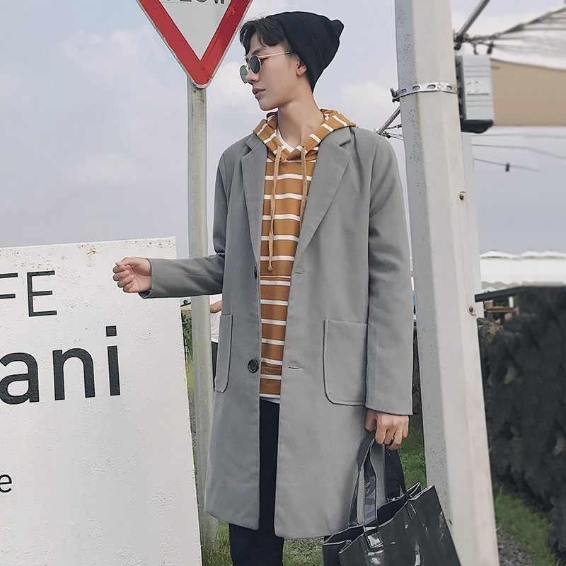 Elegantes gabardina de lana de longitud media para hombre Abrigos coreanos de manga larga de solapa de un solo pecho Pocekts de ajuste delgado para hombre Abrigos de talla grande