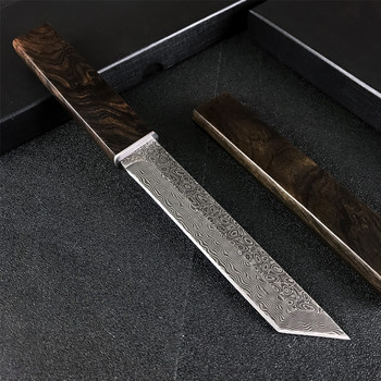 Japanese Samurai VG10 Damascus Steel Straight Knife with Sheath Wooden Handle Tactical Hunting Knife Outdoor Self Defense Weapon 1