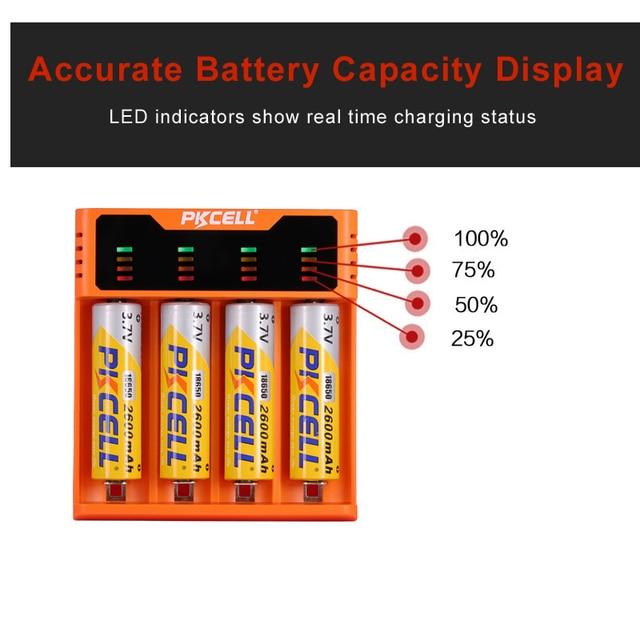 1Pcs * PKCELL 배터리 충전기 1.2V 3.7V 3.2V AA AAA 26650 18650 18350 14500 10440 CRCR123A 5V 2A LED 디스플레이 USB 라인