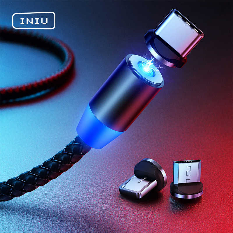Iniu 2 M Magnetische Kabel Type C Micro Usb Snel Opladen Voor Iphone 11 Pro Huawei Android Mobiele Telefoon Lading magneet Charger Cord