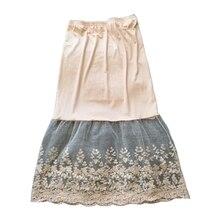Lace Half Slip Skirts Extender Elastic Waist A-line Hollow Petticoat Underskirt