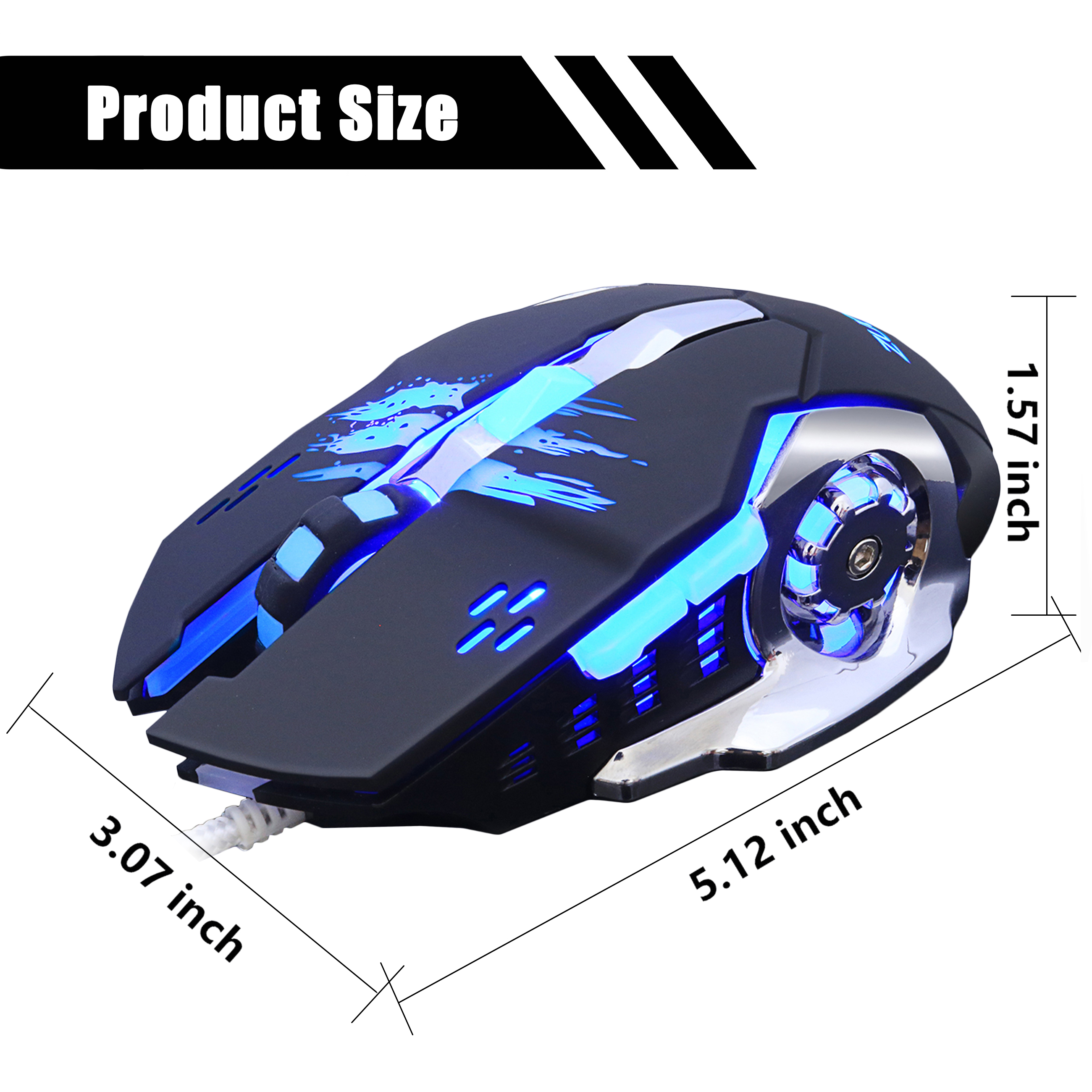 ZUOYA Gaming Mouse DPI Adjustable Wired Mouse USB Optical LED Computer Mice for Laptop PC Game Professional Gamer