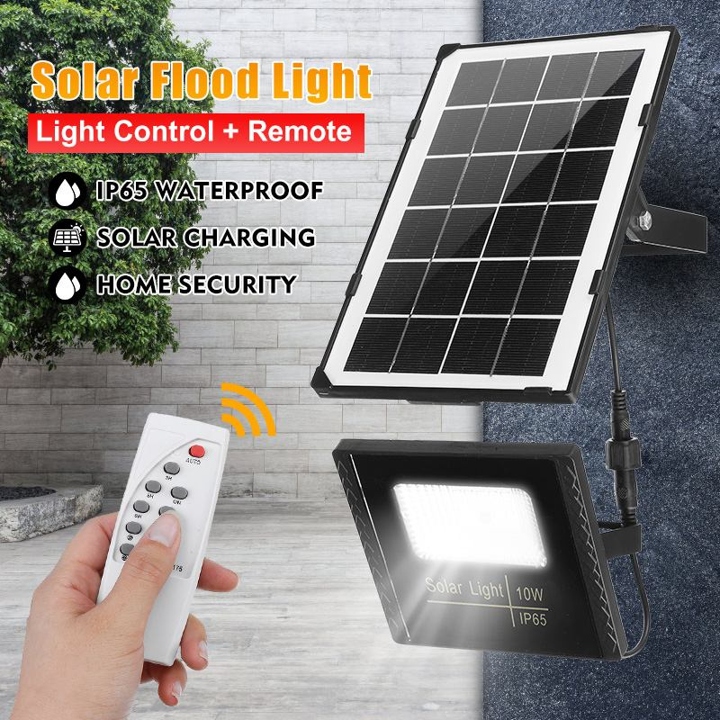 10W LED FloodLight Outdoor Waterproof IP65 Solar Sensor Lamp Light Reflector Led Flood Light Lighting Spotlight+Remote Control