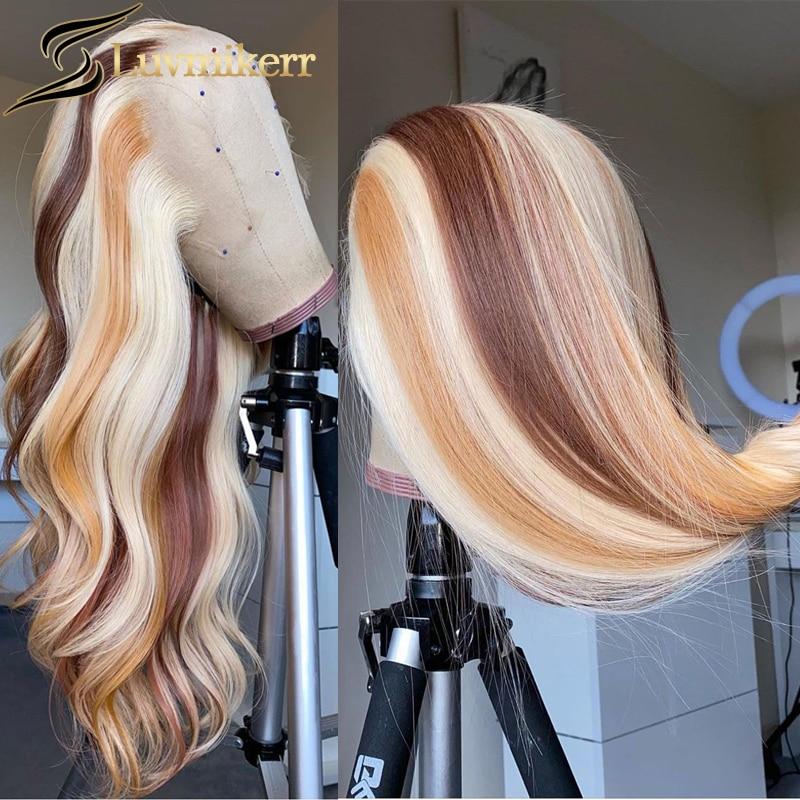 13x6 hd peruca frontal do laço transparente marrom destaque 613 peruca dianteira do laço peruca loira preplucked feminino preto completo brasileiro remy