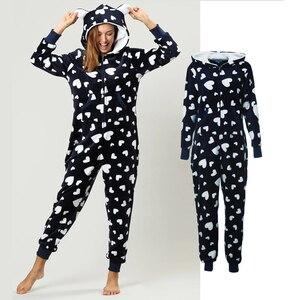 Image 1 - Mùa đông Nữ Pyjama Bộ Ấm Dép Nỉ Có Mũ Trùm Đầu Có Túi Onesie Lông Tơ Đồ Ngủ Nữ 1 Nhảy Phù Hợp Với Bộ Pyjama Homewear