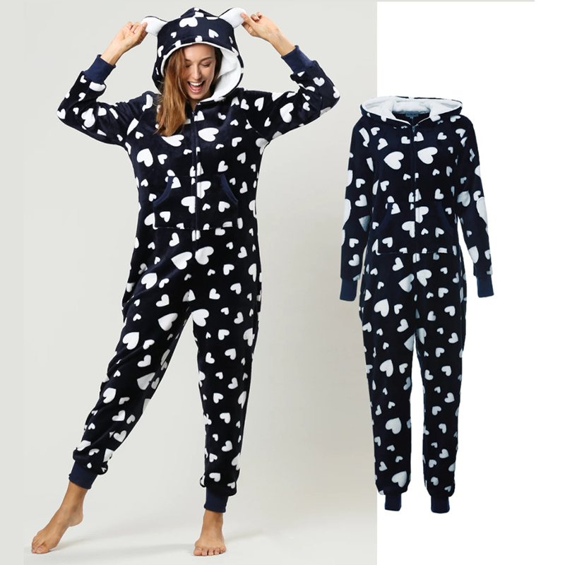 Winter Women Pajama Set Warm Flannel Hooded With Pocket Onesie Fluffy Sleepwear Female One-piece Jump Suits Pyjama Homewear