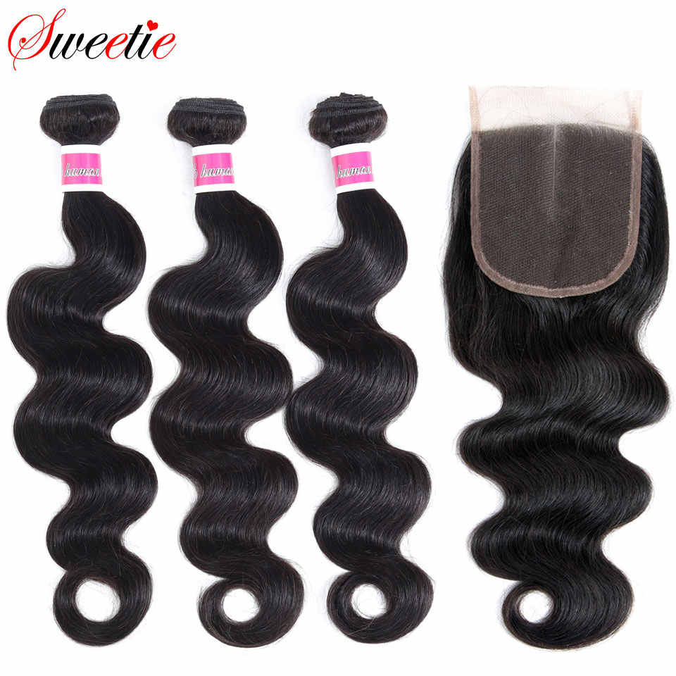 Sweetie Hair Malaysian Body Wave Bundles With Closure 4x4 Lace Closure With Bundles Human Hair Bundles With Closure Non-Remy
