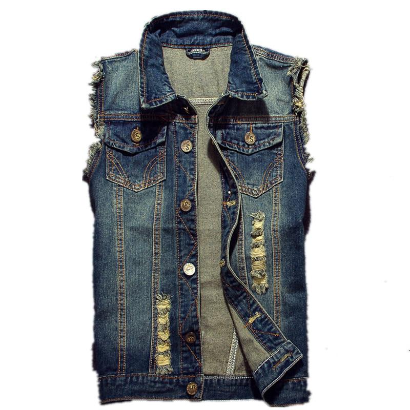 2019 Ripped Jean Jacket Men's Denim Vest Hip Hop Jean Coats Waistcoat Men Cowboy Brand Sleeveless Jacket Male Tank Plus Size 6XL