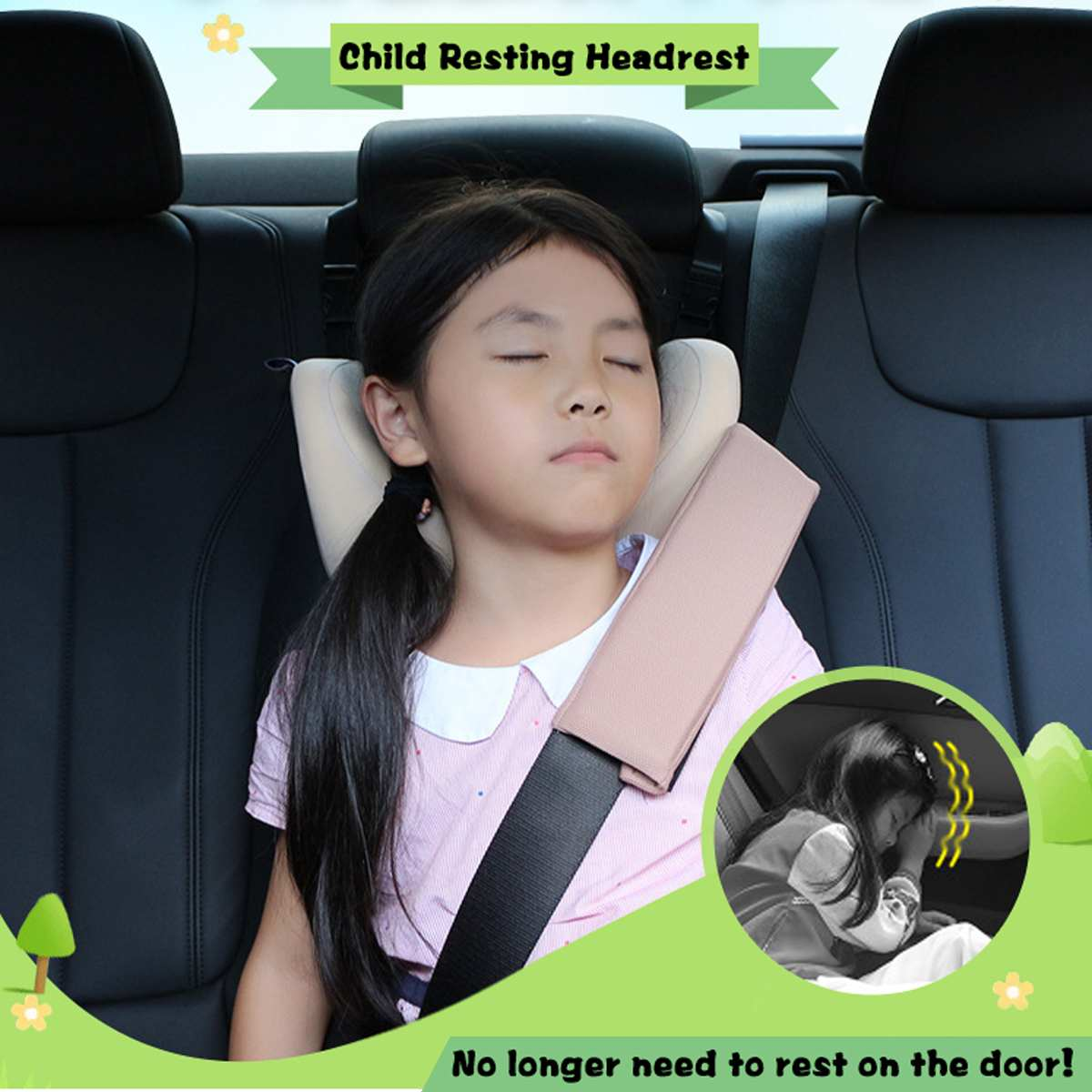 Child Kid Car Seat Neck Pillow Headrest Sleeping Head Rest Cushion Support Children Nap For Kids Travel For 3 - 12 Years Old