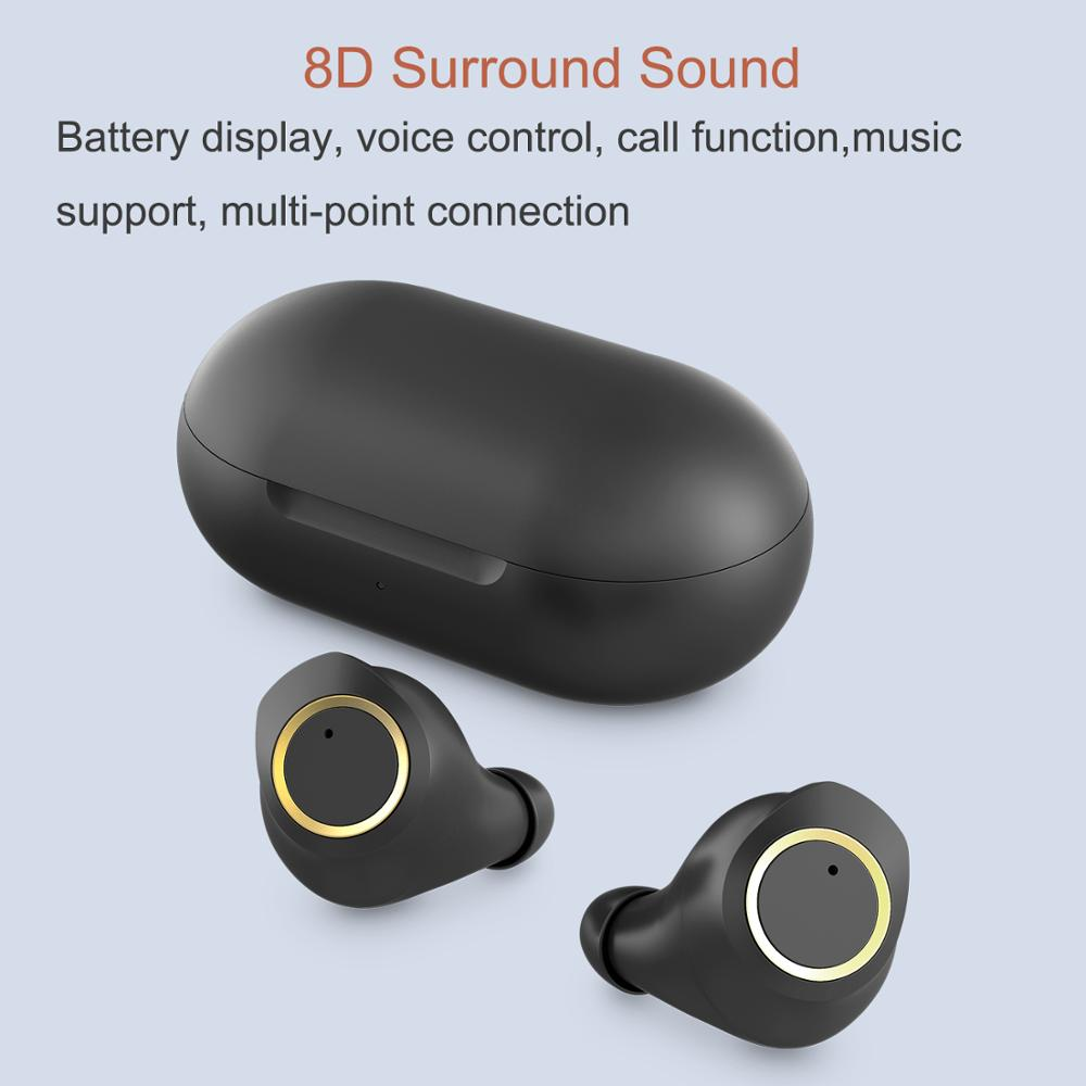 Wireless Headphones 3D Stereo Headset 5 0 Touch bluetooth sports earphone Automatic wireless earphones for iPhone iOS Android in Phone Earphones Headphones from Consumer Electronics