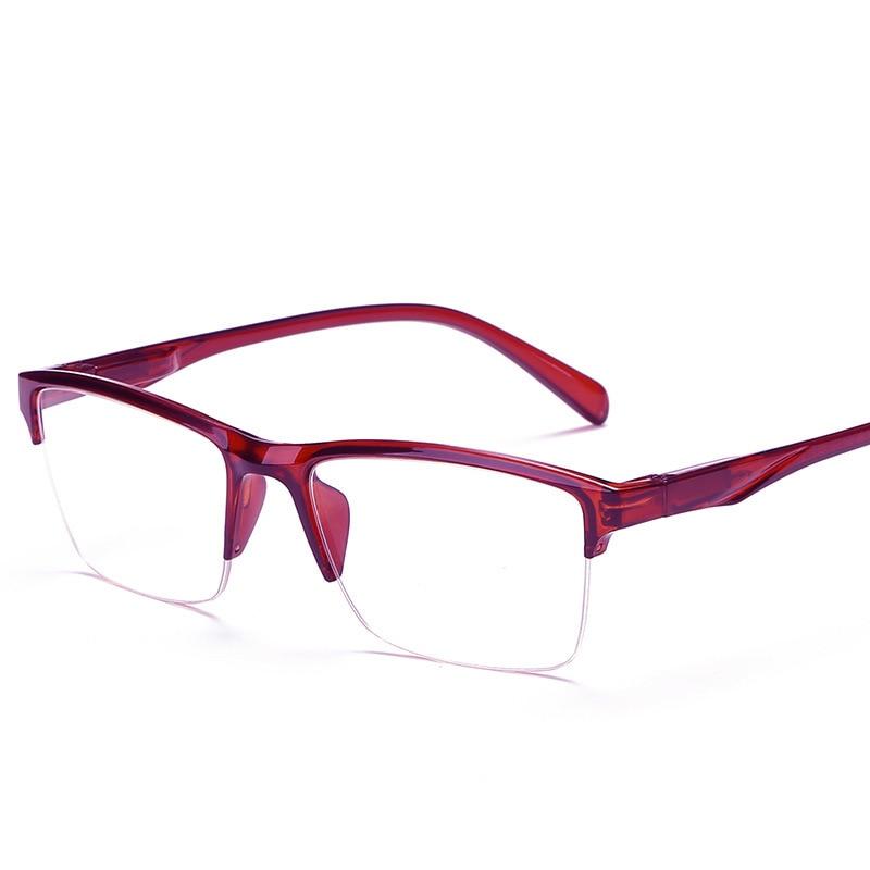 Для женщин мужские красные полу-чтение диоптрий очки для чтения Ретро прозрачные линзы пресбиопические очки + 75 + 1,5 2,0 3,0 4,0