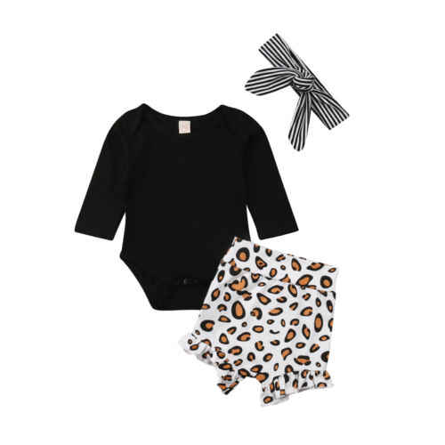 3PCS Newborn Kids Baby Girls Leopard Clothes Romper Bodysuit Pants Bottoms Shorts Headband Summer Outfits Cotton Soft Sets