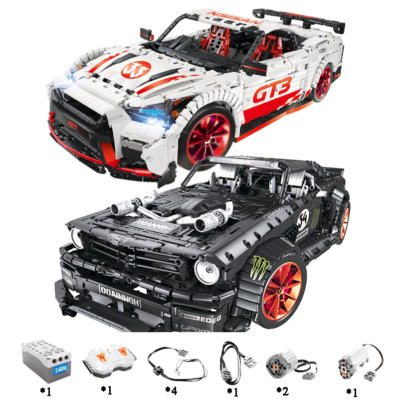 Ford Mustang Hoonicorn RTR V2 Racing Car with power function led light legoinges Technic MOC-22970 building block bricks Kids