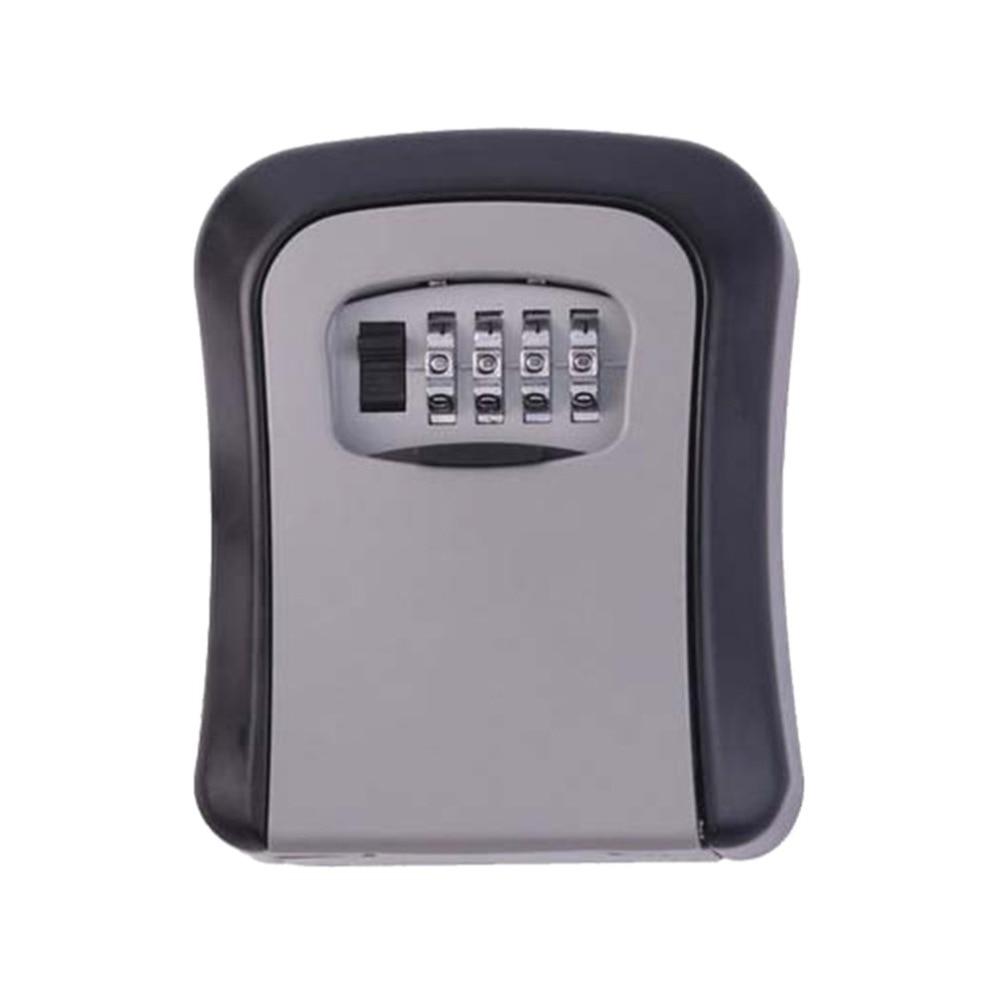 Key Lock Box Wall Mounted Aluminum Alloy Key Safe Box Weatherproof 4 Digital Combination Key Storage Lock Box Indoor Outdoor