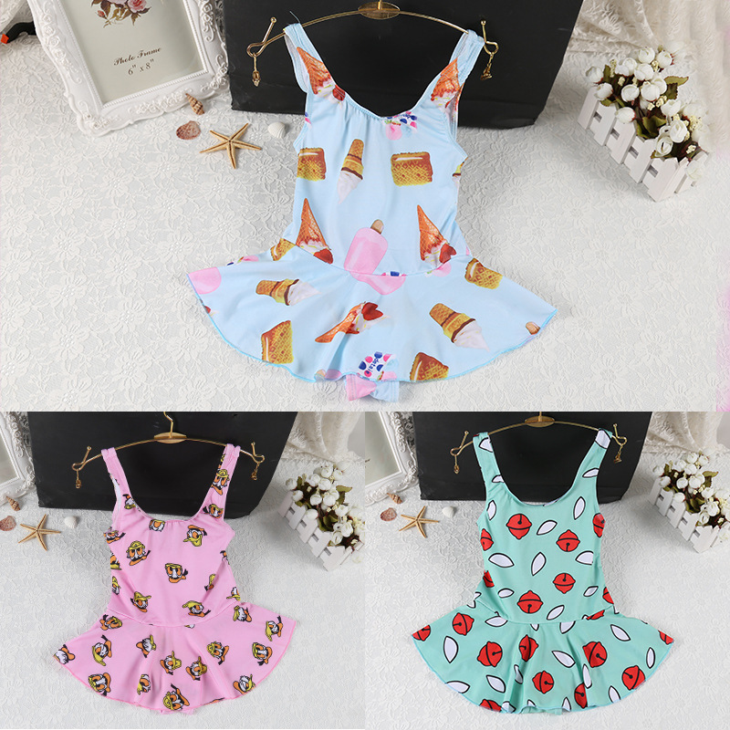 Korean-style Middle And Large Girls One-piece Fitted Skirt-Conservative Children Small-Style Bathing Suit Dacron Princess Skirt