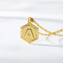 Tiny Gold Medal Initial A-Z Letter Necklaces Charm Wave Chain Capital Necklace Pendant For Women Men BFF Jewelry