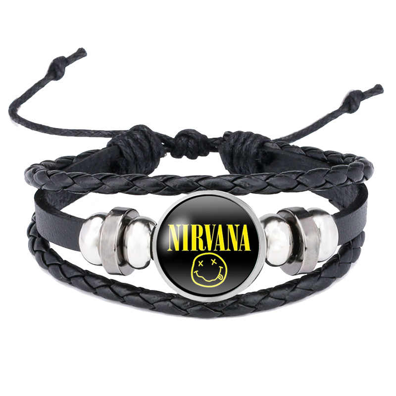 Rock Band Smile Nirvana Band Bracelets Glass Cabochon Pendant Bangles Jewelry Wholesale Rock Music Fans Gifts