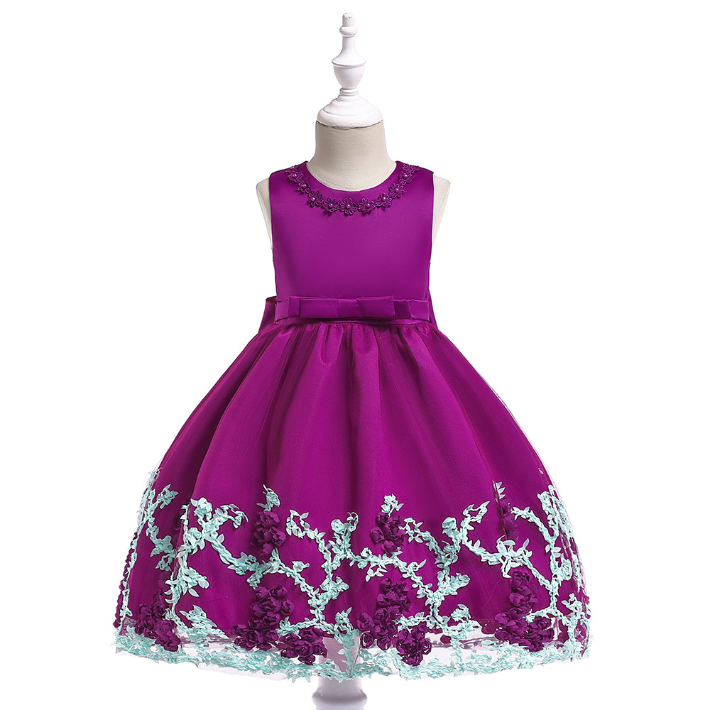 Europe And America GIRL'S Gown Stereo Floral Princess Dress INS Wedding Dress Children GIRL'S Gown