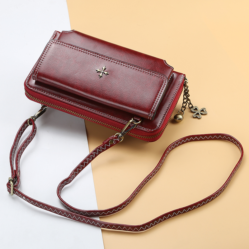 Large Capacity Wallet For Women Luxury Long Leather Handbag With Hand Strap Bags Vintage Phone Pocket Durable Card Holder Wallet