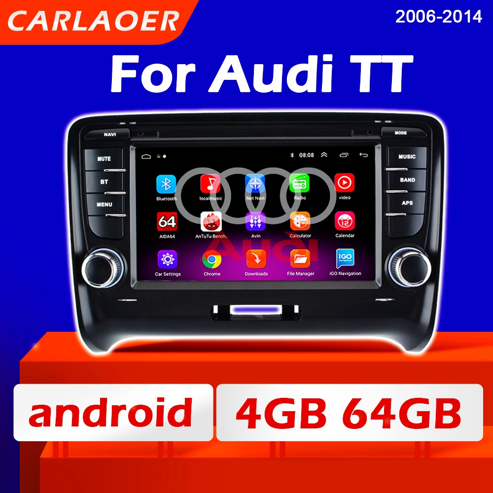 Rádio do carro android multimídia player para audi tt mk2 8j 2006 2005 2006 2007 2008 2009 2010 - 2014 2 din autoradio estéreo gps 2din