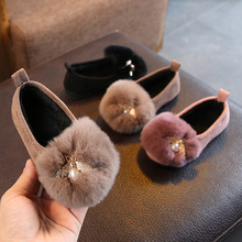 Winter Girls Slip on Shoes Faux Fur Plush Loafers Rhinestone Girls Shoes Kids Flats Big Girl Shoes Warm Boat Shoes For Children cheap LHCGY 14T Velvet CRYSTAL Slip-On Rubber